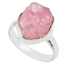 925 silver 6.85cts natural pink morganite rough solitaire ring size 8 r48998