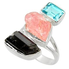 925 silver 16.76cts natural pink morganite rough topaz ring size 8 r29732