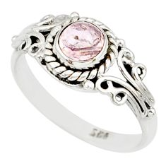 925 silver 1.39cts natural pink morganite round solitaire ring size 9 r82083