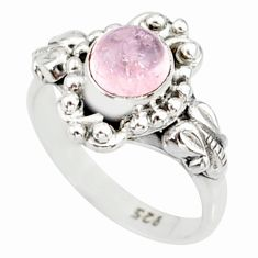 silver 1.41cts natural pink morganite solitaire handmade ring size 5.5 r82076