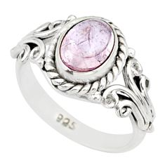 925 silver 2.00cts natural pink morganite solitaire handmade ring size 5 r82072