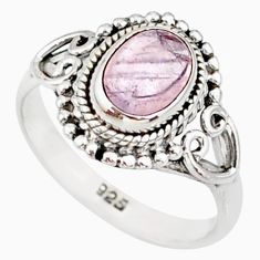 925 silver 2.02cts natural pink morganite solitaire handmade ring size 7 r82064