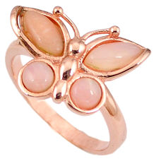 925 silver natural pink opal 14k rose gold butterfly ring size 9.5 a59115 c15172