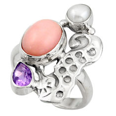 925 silver 6.48cts natural pink opal amethyst seahorse ring size 7.5 d46073