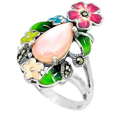 925 silver natural pink pearl marcasite enamel ring jewelry size 7.5 c21519