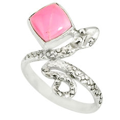 925 silver 3.28cts natural pink queen conch shell snake ring size 7.5 r78609