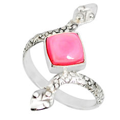 925 silver 3.26cts natural pink queen conch shell snake ring size 9.5 r78684