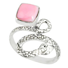 925 silver 3.22cts natural pink queen conch shell snake ring size 9.5 r82543