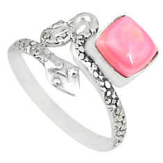 925 silver 3.28cts natural pink queen conch shell snake ring size 9.5 r82549