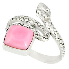925 silver 3.50cts natural pink queen conch shell snake ring size 8 r78628