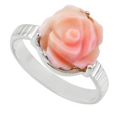 925 silver 5.23cts natural pink queen conch shell solitaire ring size 8.5 r49771