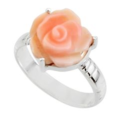 925 silver 5.54cts natural pink queen conch shell solitaire ring size 7.5 r49777