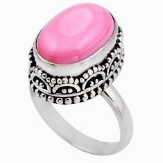 925 silver 6.62cts natural pink queen conch shell solitaire ring size 6.5 r53704