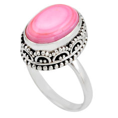925 silver 6.62cts natural pink queen conch shell solitaire ring size 8 r53708