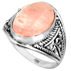 925 silver 6.04cts natural pink rose quartz oval solitaire ring size 6.5 r35473