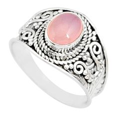 925 silver 2.32cts natural pink rose quartz oval solitaire ring size 8.5 r81524