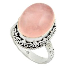 925 silver 11.80cts natural pink rose quartz oval solitaire ring size 8 r22325