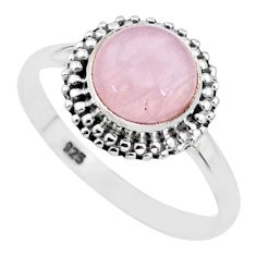 925 silver 3.12cts natural pink rose quartz round solitaire ring size 9 t6017