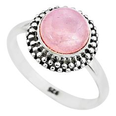 925 silver 3.31cts natural pink rose quartz round solitaire ring size 7.5 t6014