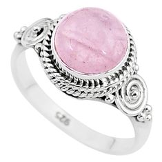 925 silver 3.32cts natural pink rose quartz solitaire ring jewelry size 6 t6004