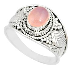 silver 2.17cts natural pink rose quartz solitaire handmade ring size 9 r81529