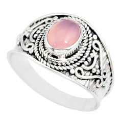silver 2.32cts natural pink rose quartz solitaire handmade ring size 9 r81539