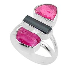 925 silver 11.57cts natural pink ruby black tourmaline raw ring size 7 r73813