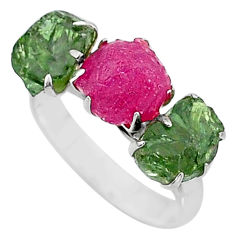 925 silver 9.83cts natural pink ruby raw apatite rough ring size 8 t7056