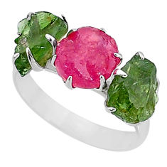 925 silver 9.83cts natural pink ruby raw apatite rough ring size 8.5 t7045