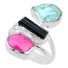 925 silver 12.06cts natural pink ruby raw aquamarine rough ring size 7 r73693