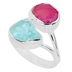925 silver 8.91cts natural pink ruby raw aquamarine rough ring size 7 t35206