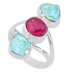 925 silver 12.91cts natural pink ruby raw aquamarine rough ring size 7 t37667