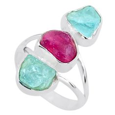 925 silver 13.77cts natural pink ruby raw aquamarine rough ring size 8 t37664