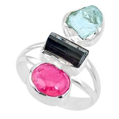 925 silver 13.24cts natural pink ruby raw aquamarine rough ring size 9 r73696
