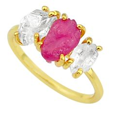 6.64cts natural pink ruby raw fancy 14k gold handmade ring size 8 t14063