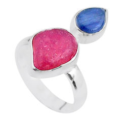 925 silver 8.53cts natural pink ruby raw fancy kyanite ring size 7 t48939