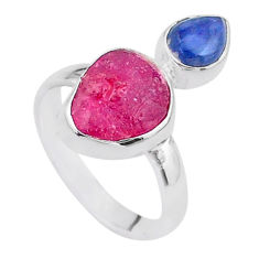 925 silver 8.80cts natural pink ruby raw fancy kyanite ring size 8 t48951