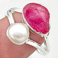 925 silver 9.59cts natural pink ruby raw fancy white pearl ring size 9 t38137