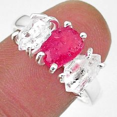 925 silver 8.56cts natural pink ruby raw herkimer diamond ring size 9 t14118