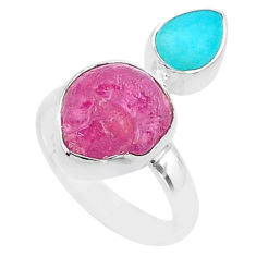 925 silver 8.94cts natural pink ruby raw peruvian amazonite ring size 7 t48984