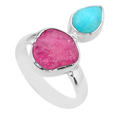925 silver 8.65cts natural pink ruby raw peruvian amazonite ring size 7 t48996