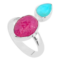 925 silver 8.94cts natural pink ruby raw peruvian amazonite ring size 8 t48997