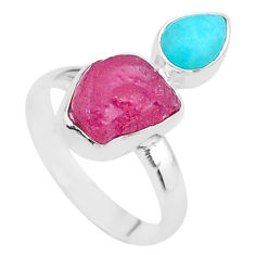 925 silver 9.67cts natural pink ruby raw peruvian amazonite ring size 9 t48991