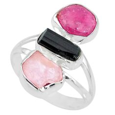 925 silver 12.06cts natural pink ruby raw rose quartz rough ring size 9 r73690