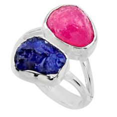 925 silver 12.36cts natural pink ruby rough sapphire rough ring size 7.5 r49124