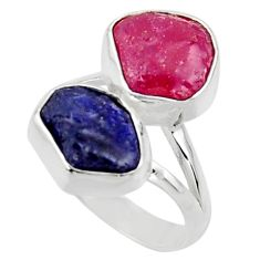 925 silver 10.78cts natural pink ruby rough sapphire rough ring size 6 r49129