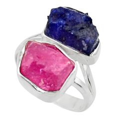 925 silver 14.12cts natural pink ruby rough sapphire rough ring size 7 r49132