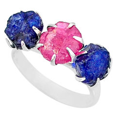 925 silver 10.76cts natural pink ruby raw sapphire rough ring size 8 t7064