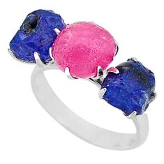925 silver 12.96cts natural pink ruby raw sapphire rough ring size 8 t7071