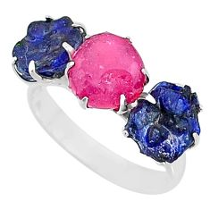 925 silver 11.57cts natural pink ruby raw sapphire rough ring size 9 t7075